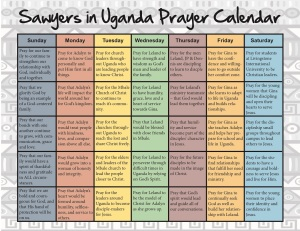 Sawyer prayer calendar